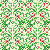 Retro style Christmas texture background with branch, leaves and pinecones