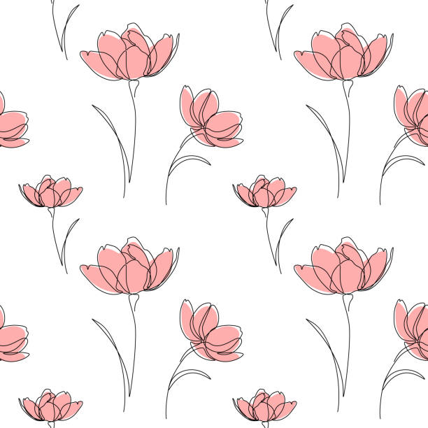 Floral seamless pattern Seamless pattern of abstract flowers in line art drawing style. Vector illustration temperate flower stock illustrations