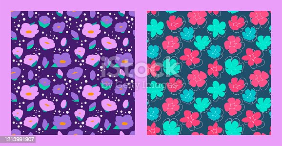set of two floral patterns. Summer mood. bright multi-colored flowers with leaves. Modern abstract design for paper, cover, fabric, interior decor