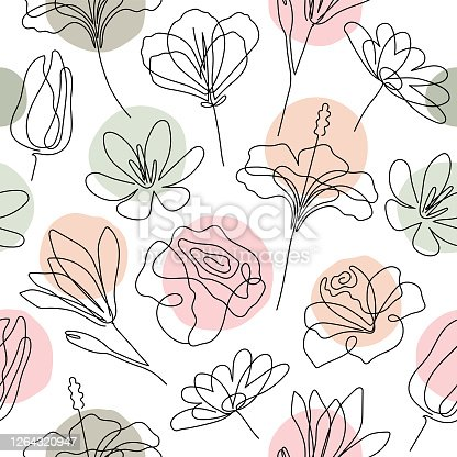 istock Floral seamless pattern 1264320947
