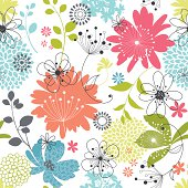 Seamless floral pattern.  Additional AI9 file with uncropped shapes and hi res jpeg included.  Scroll down to see more of my illustrations.