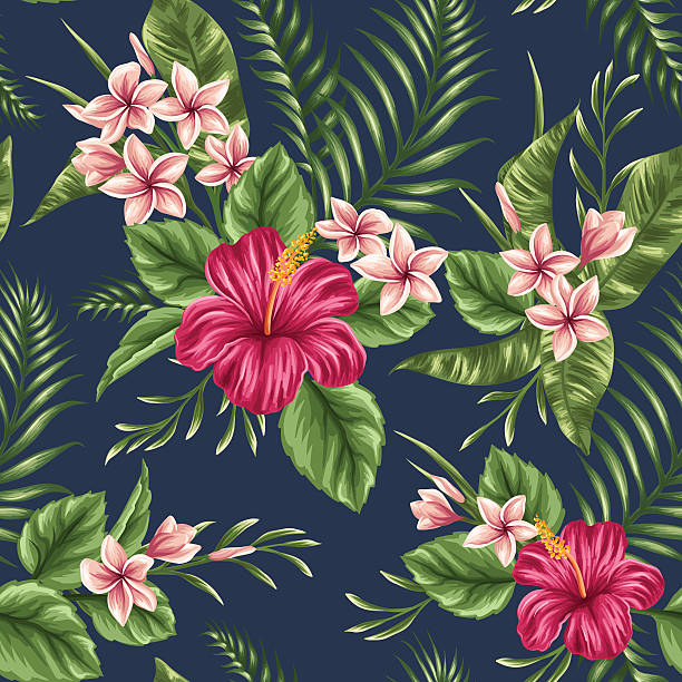 Floral seamless pattern Tropical floral seamless pattern with plumeria and hibiscus flowers tropical flower stock illustrations