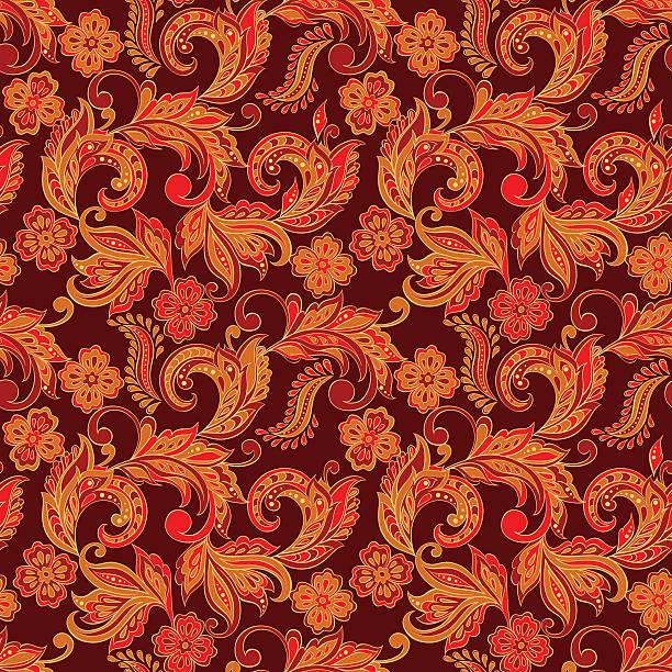 stockillustraties, clipart, cartoons en iconen met floral seamless pattern - batik