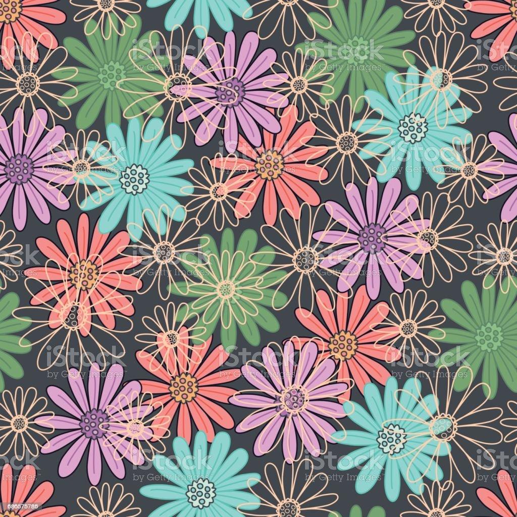 Naadloze bloemmotief. royalty free naadloze bloemmotief stockvectorkunst en meer beelden van achtergrond - thema