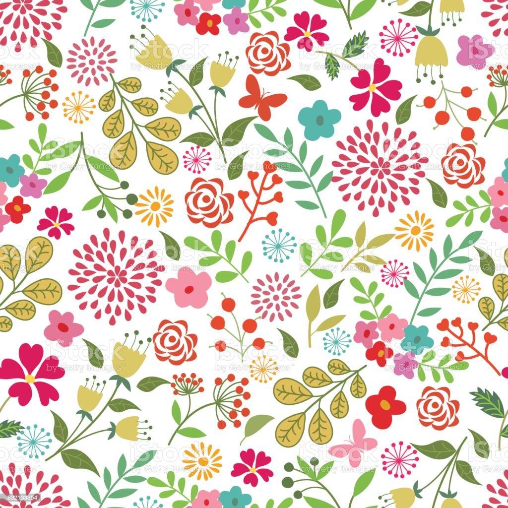 花のシームレスなパターン。 ベクターアートイラスト