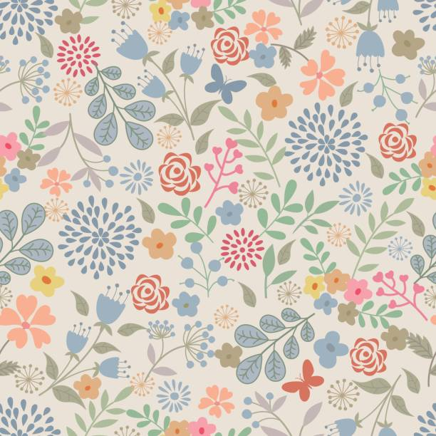floral seamless pattern . - floral pattern stock illustrations, clip art, cartoons, & icons