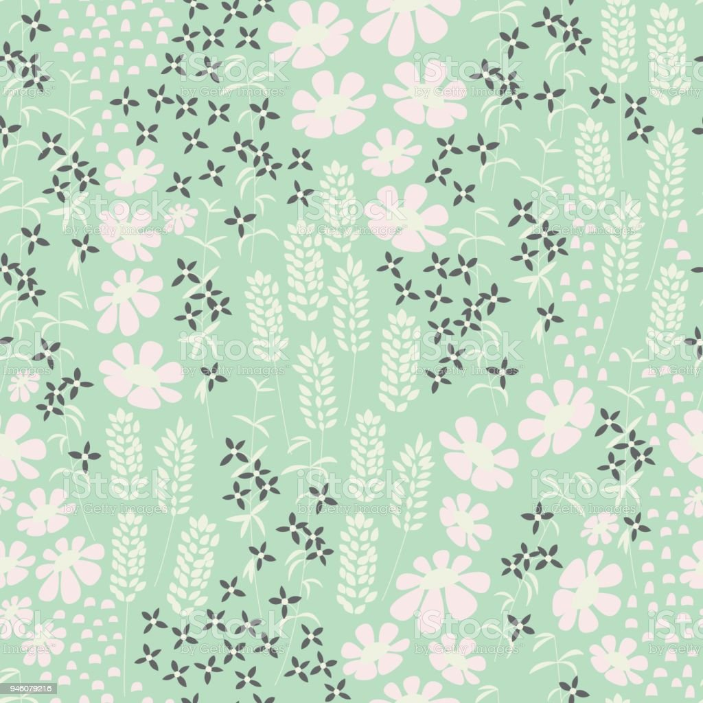 Floral Seamless Pattern With Beautiful Flowers On Mint Background