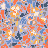 Creative floral seamless pattern with blooming flowers, plants and petals. Hand drawn summer artistic background. Modern flat design. Abstract organic shapes.