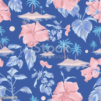 istock Floral seamless pattern with Chinese Hibiscus rose flowers. 1223340379