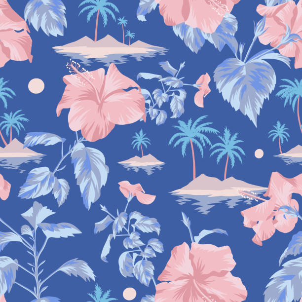 Floral seamless pattern with Chinese Hibiscus rose flowers. Seamless island botanical pattern. Colorful summer tropical background. Landscape with palm trees, beach and ocean mixed with large pink Chinese Hibiscus rose flowers. Flat design, Floral bloom. idyllic stock illustrations