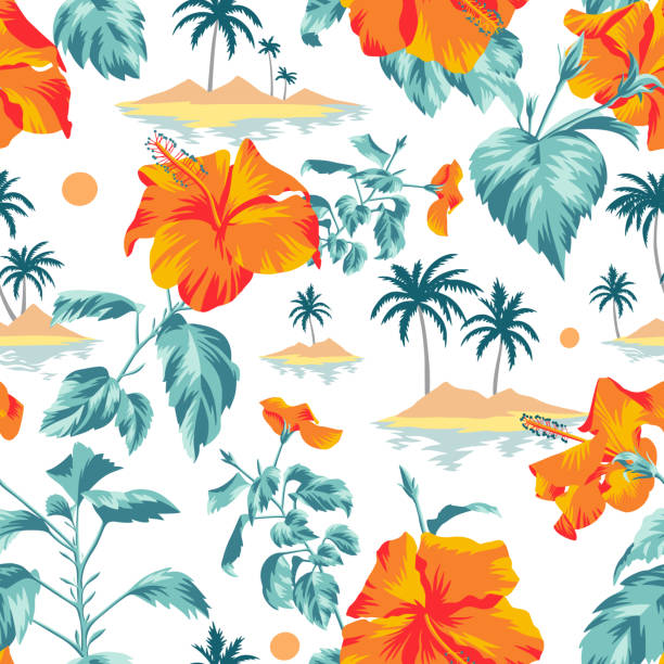 Floral seamless pattern with Chinese Hibiscus rose flowers. Seamless island botanical pattern. Colorful summer tropical background. Landscape with palm trees, beach and ocean mixed with large orange Chinese Hibiscus rose flowers. Flat design, Floral bloom. idyllic stock illustrations
