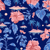 Seamless island botanical pattern. Colorful summer tropical background. Landscape with palm trees, beach and ocean mixed with large Chinese Hibiscus rose flowers. Flat design, Floral bloom.