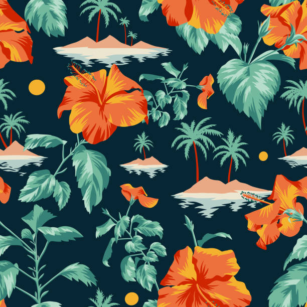 Floral seamless pattern with Chinese Hibiscus rose flowers. Seamless island botanical pattern. Colorful summer tropical background. Landscape with palm trees, beach and ocean mixed with large Chinese Hibiscus rose flowers. Flat design, Floral bloom. idyllic stock illustrations