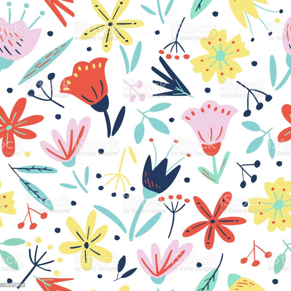Motif Floral De Transparente Avec Fleurs Creatifs Et Des Elements Decoratifs Dans Un Style Scandinave Beau Modele Pour Imprimer Cartes Postales Affiches Parti Fond Ete Tissu Textile Vintage Vecteurs Libres De Droits