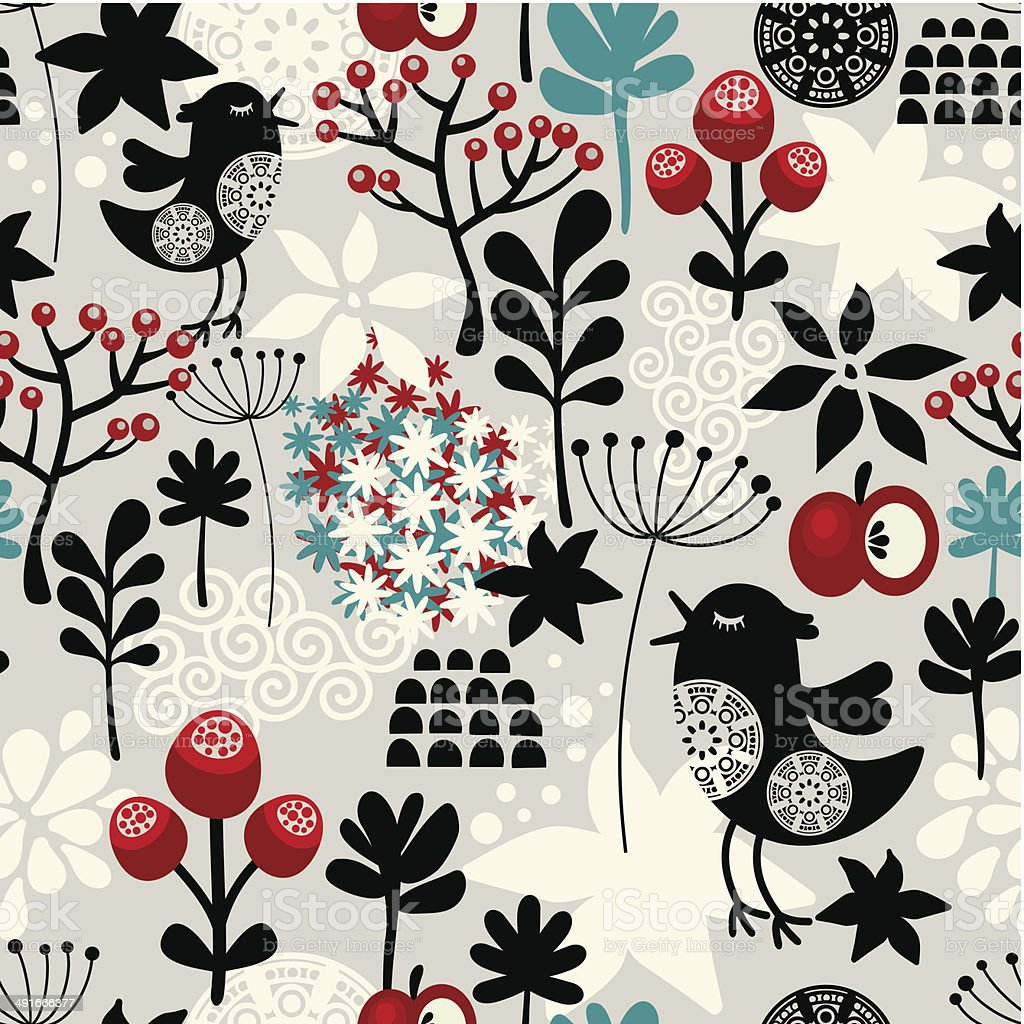Floral seamless pattern with cute birds flowers. vector art illustration