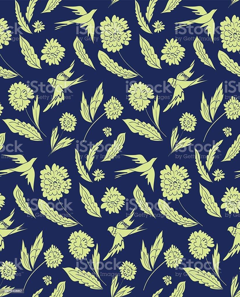 Floral seamless pattern with fantasy birds ilustração de floral seamless pattern with fantasy birds e mais banco de imagens de amostra de tecido - material têxtil royalty-free