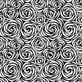 Floral seamless pattern with flower rose. Abstract swirl line background