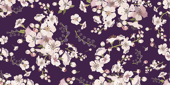 Floral seamless pattern with flowering branches.