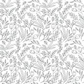 Floral seamless pattern with hand drawn flowers and plants. May be used as a coloring book