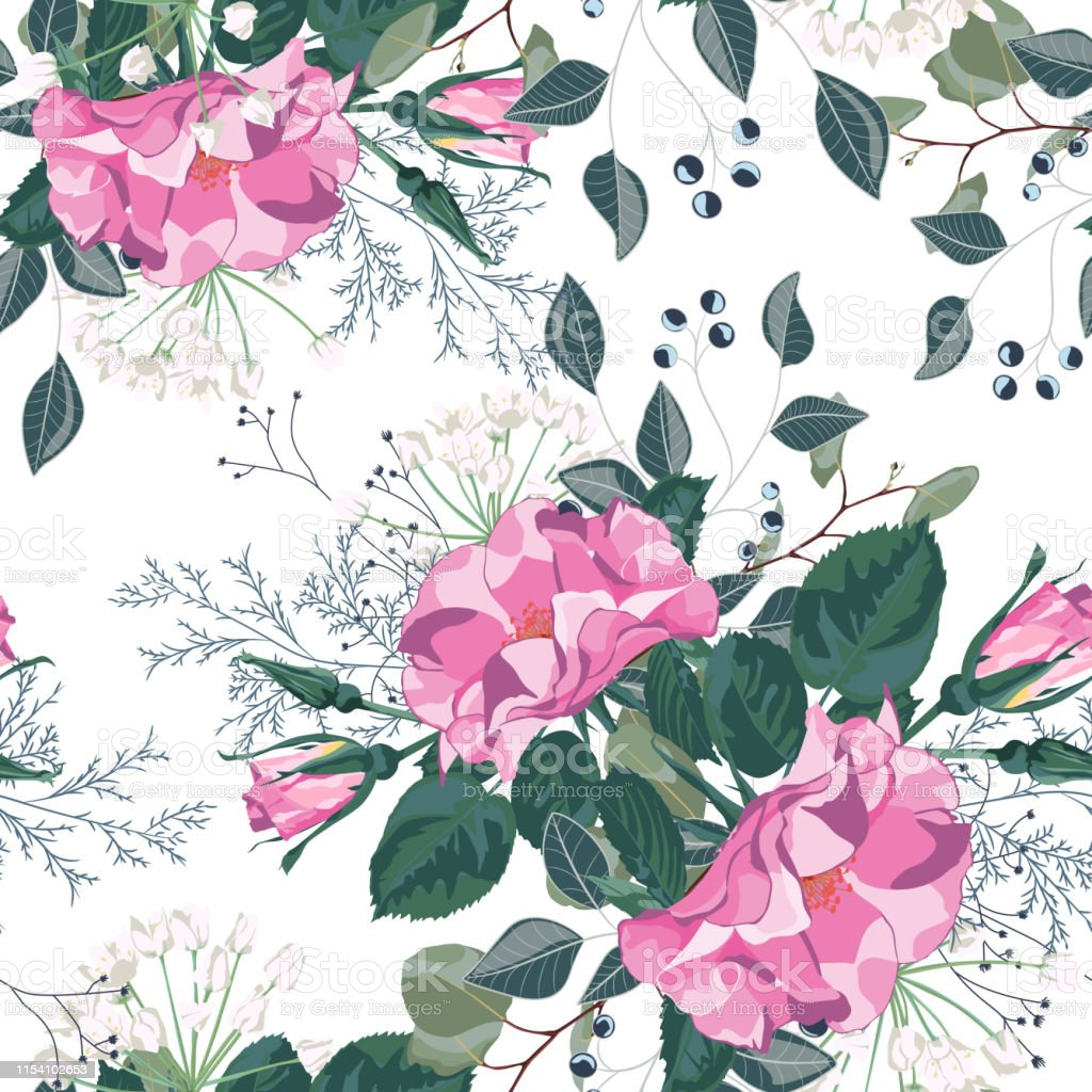 Floral Seamless Pattern With Garden Roses In Vintage Style White