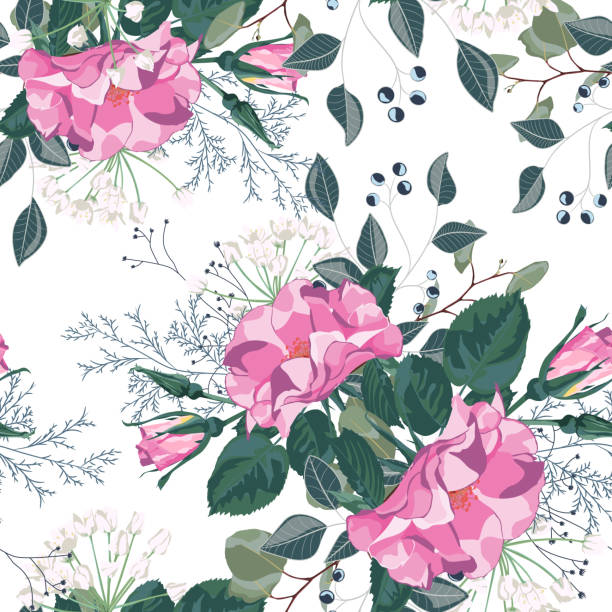 floral seamless pattern with garden roses in vintage style. white background. a bouquet of spring flowers for fashion prints. modern floral background. - spring fashion stock illustrations, clip art, cartoons, & icons