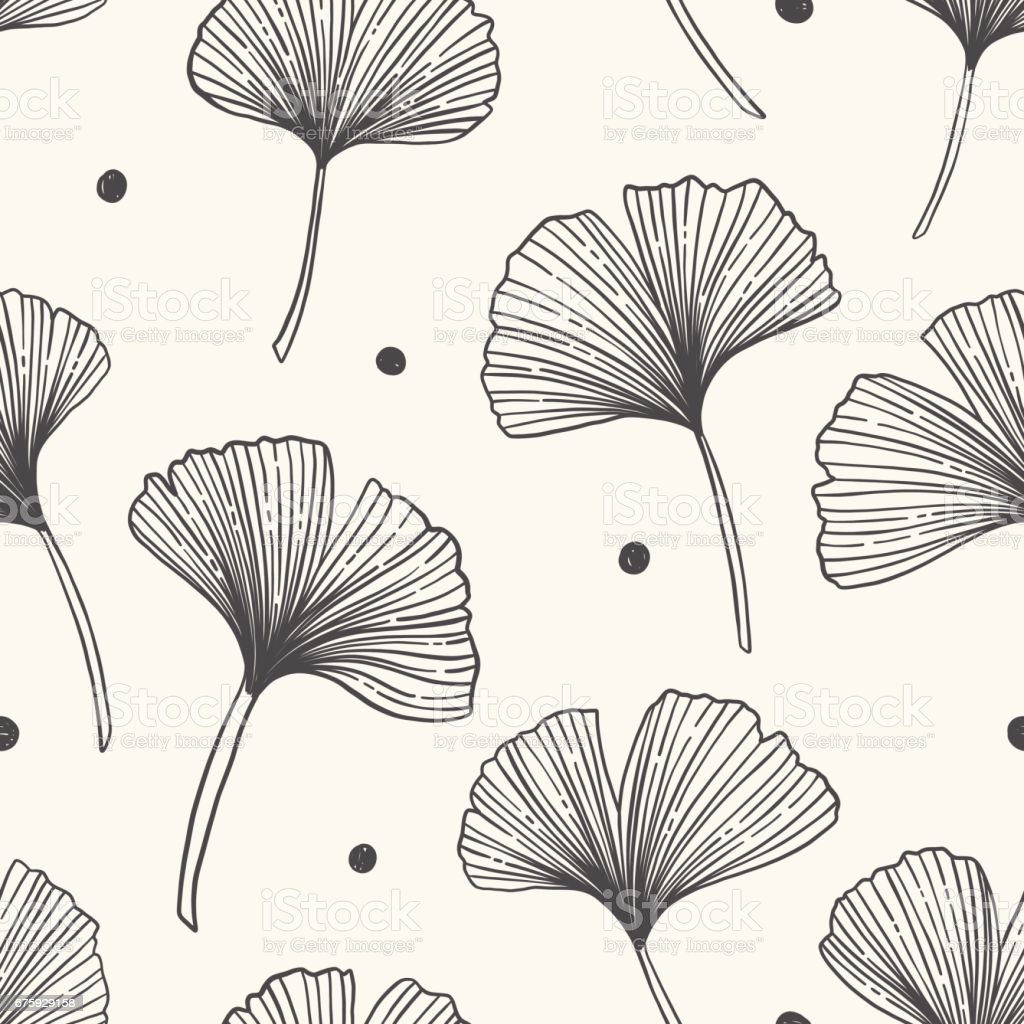 Floral seamless pattern with ginkgo leaves.Vector illustration. vector art illustration