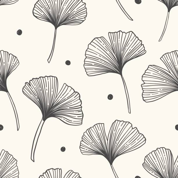 Floral seamless pattern with ginkgo leaves.Vector illustration. Floral seamless pattern with ginkgo leaves.Vector illustration. ginkgo stock illustrations