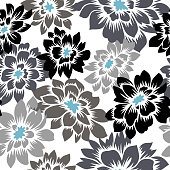 Floral seamless pattern with hand drawn. Black and gray color Dahlia flowers. Bright vector floral background. Flat drawing in modern style. Botanical trendy ornament. Summer motif.
