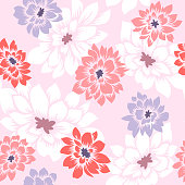 Floral seamless pattern with hand drawn Dahlia flowers. Bright vector floral background in pastel colors. Flat drawing in modern style. Botanical trendy ornament. Summer motif.