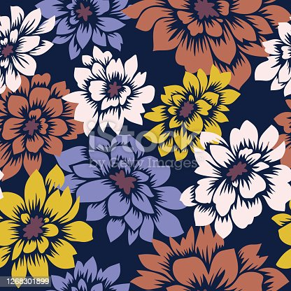 istock Floral seamless pattern with hand drawn Dahlia flowers. Bright vector floral background. Flat drawing in modern style. Botanical trendy ornament. Summer motif. 1268301899