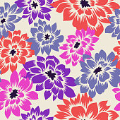 Floral seamless pattern with hand drawn Dahlia flowers. Bright vector floral background. Flat drawing in modern style. Botanical trendy ornament. Summer motif.