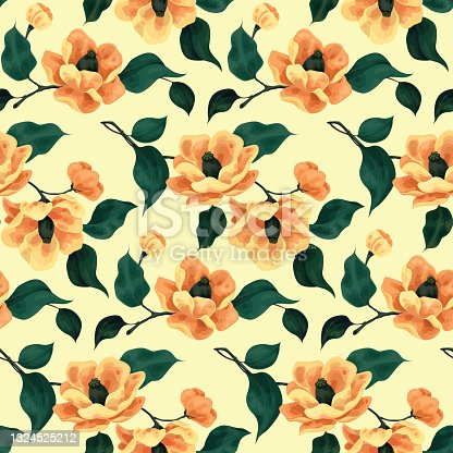 istock Floral seamless pattern with large peach flowers. Vector. 1324525212