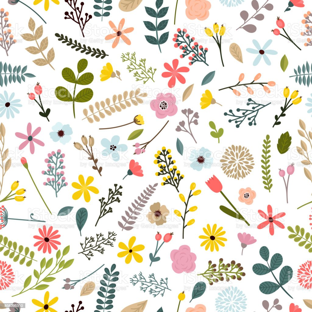 Floral Seamless Pattern With Leaves Branches And Flowers Spring