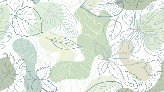 Floral seamless pattern with leaves with abstract organic shape blots over white background