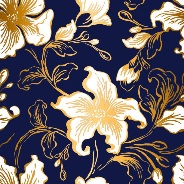 stockillustraties, clipart, cartoons en iconen met naadloze bloemmotief met lelies. abstracte sierlijke bloemen vintage textuur. blauwe kleur met gouden kleurovergang bloemblaadjes achtergrond. decoratieve versiering textiel, behang, inwikkeling van papier vector vulling. - batik