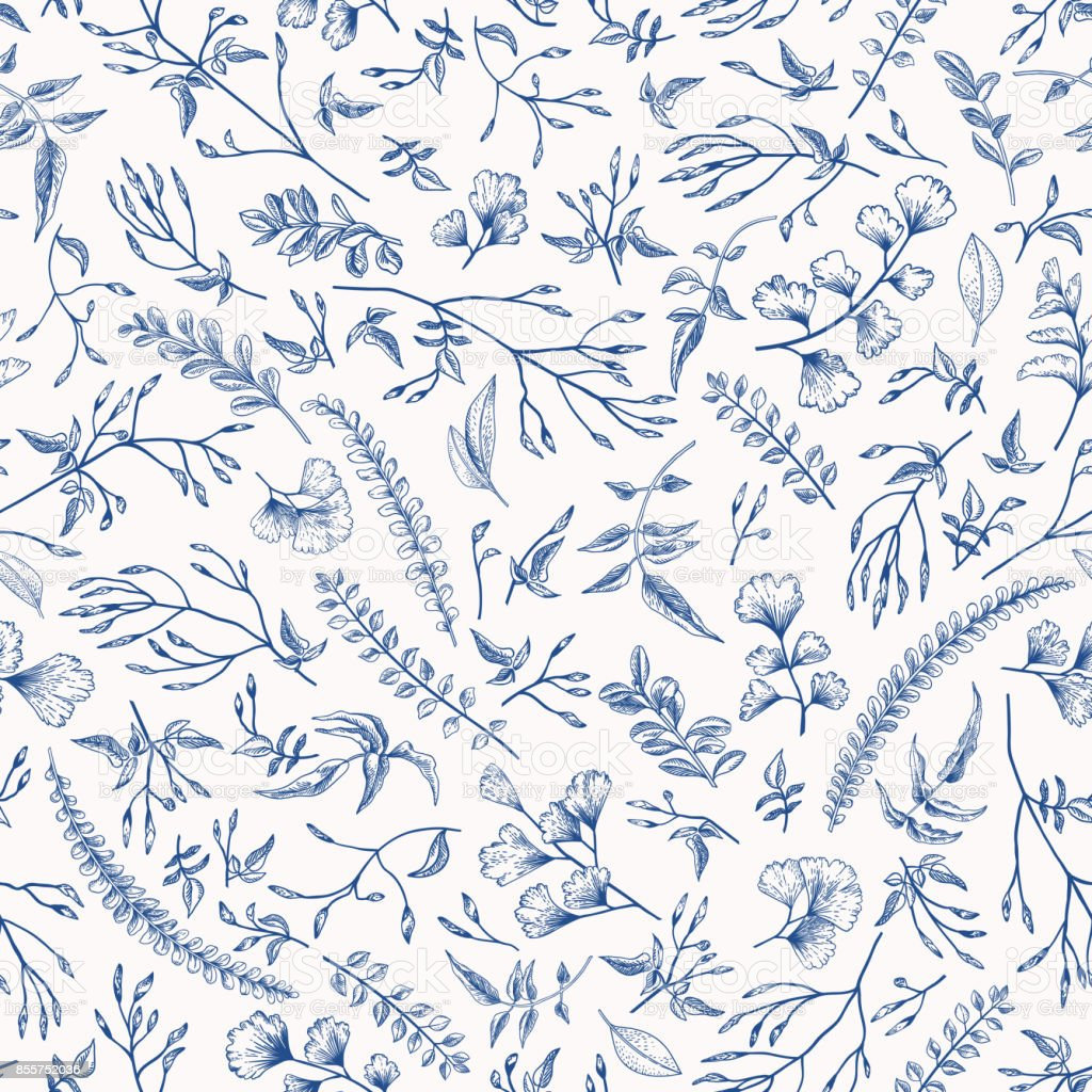 Floral seamless pattern with little plants. vector art illustration