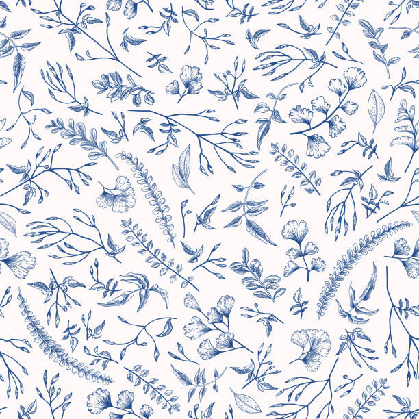 floral seamless pattern with little plants. - лекарственная трава stock illustrations