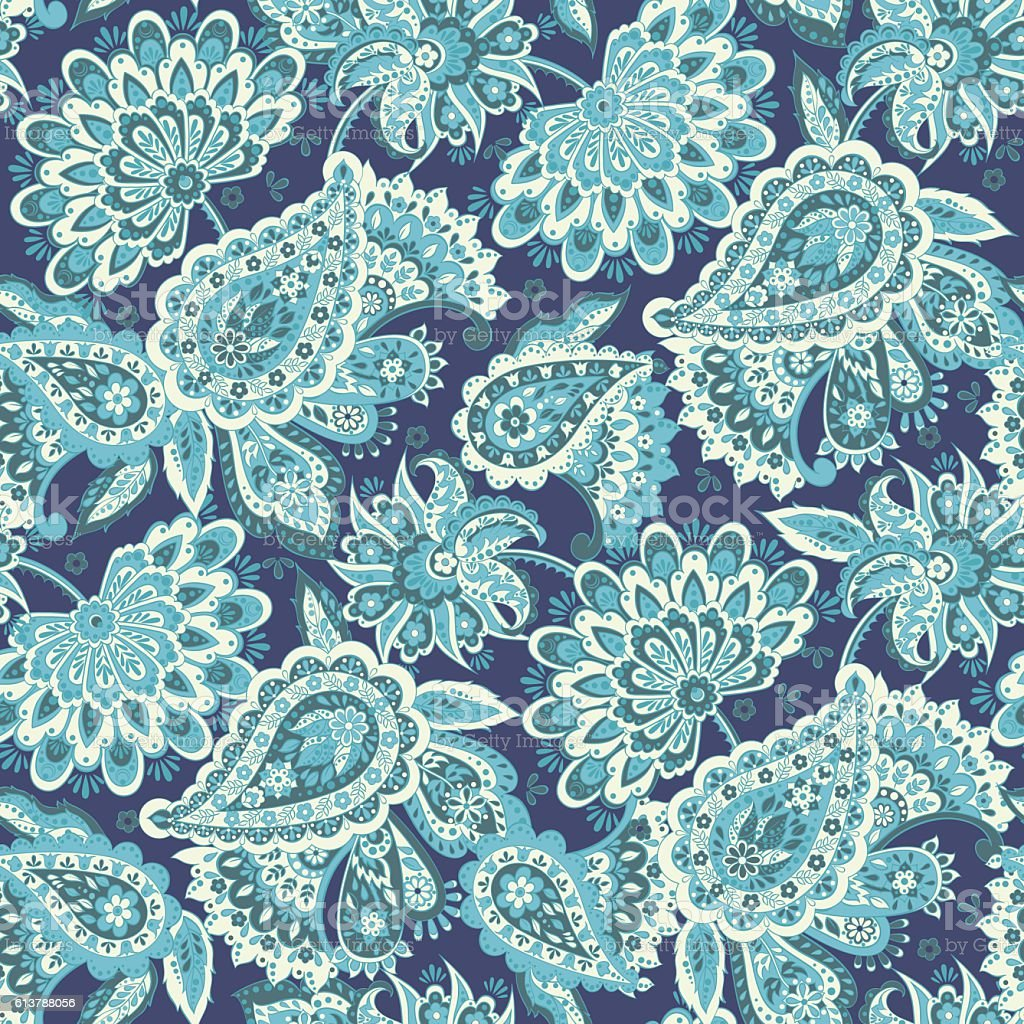 Floral seamless pattern with paisley ornament. vector art illustration