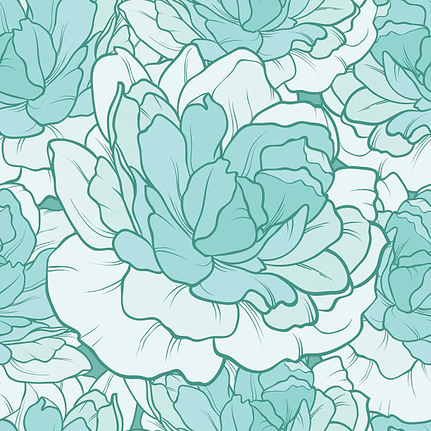 Floral seamless pattern with peony Floral seamless pattern with turquoise peony. vector background mistery stock illustrations