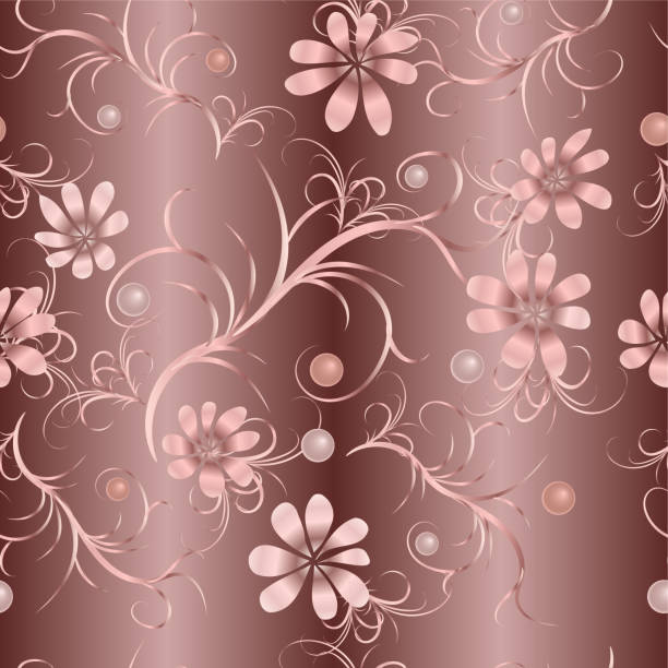 nahtlose blumenmuster mit rosa blüten - perlenstrauß stock-grafiken, -clipart, -cartoons und -symbole