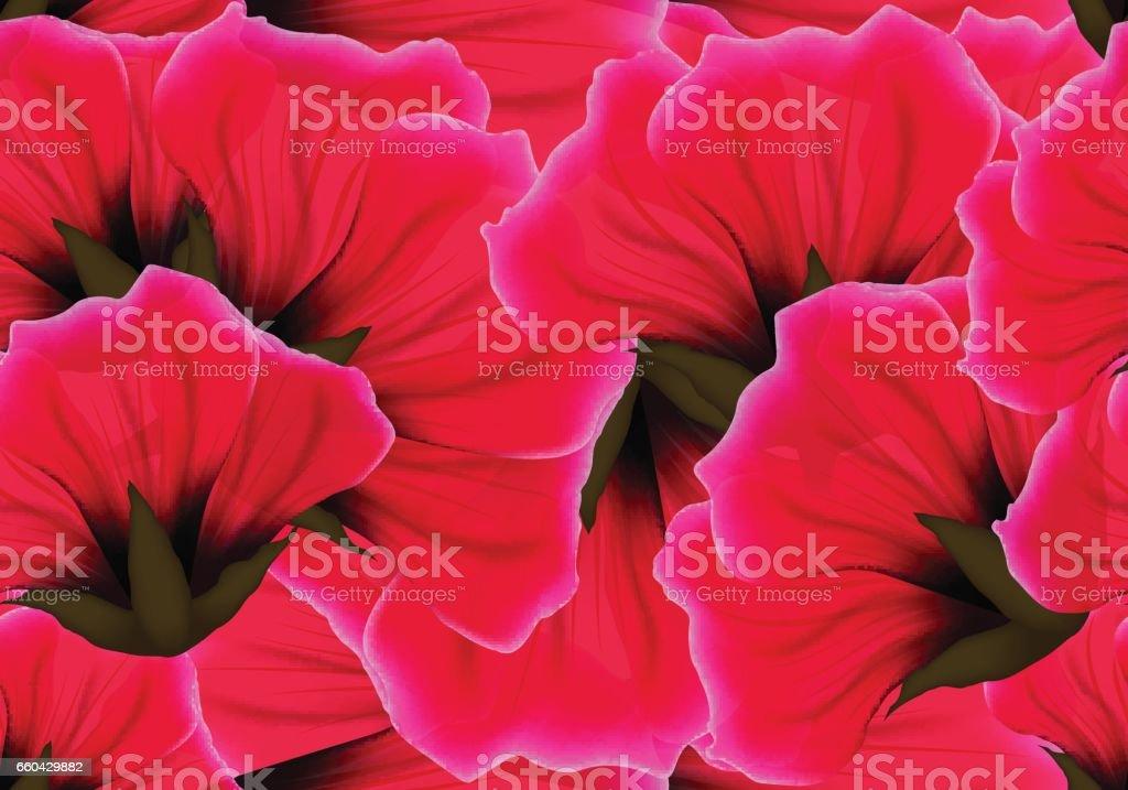 Patrón transparente floral con flor roja y rosa pétalo. Color vivo brillante repetir fondo de pasión. Envoltura de papel o paño diseño - ilustración de arte vectorial