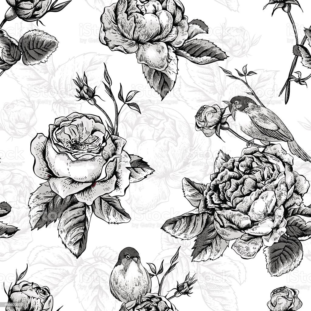 Floral seamless pattern with roses and birds vector art illustration