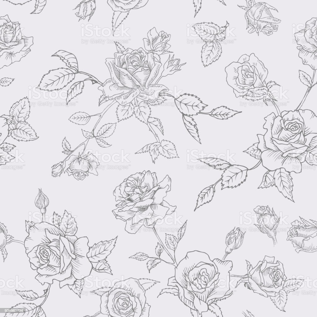 Floral Seamless Pattern With Roses In Sketched Outline Style Flowers