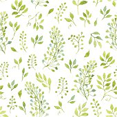 Simple and cute floral seamless pattern. Spring branches and leaves. Vectorized watercolor drawing.
