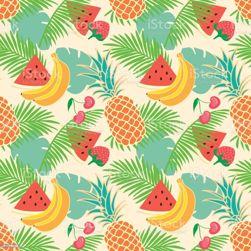 Floral seamless pattern with tropical fruit stock vector for Designers art of california