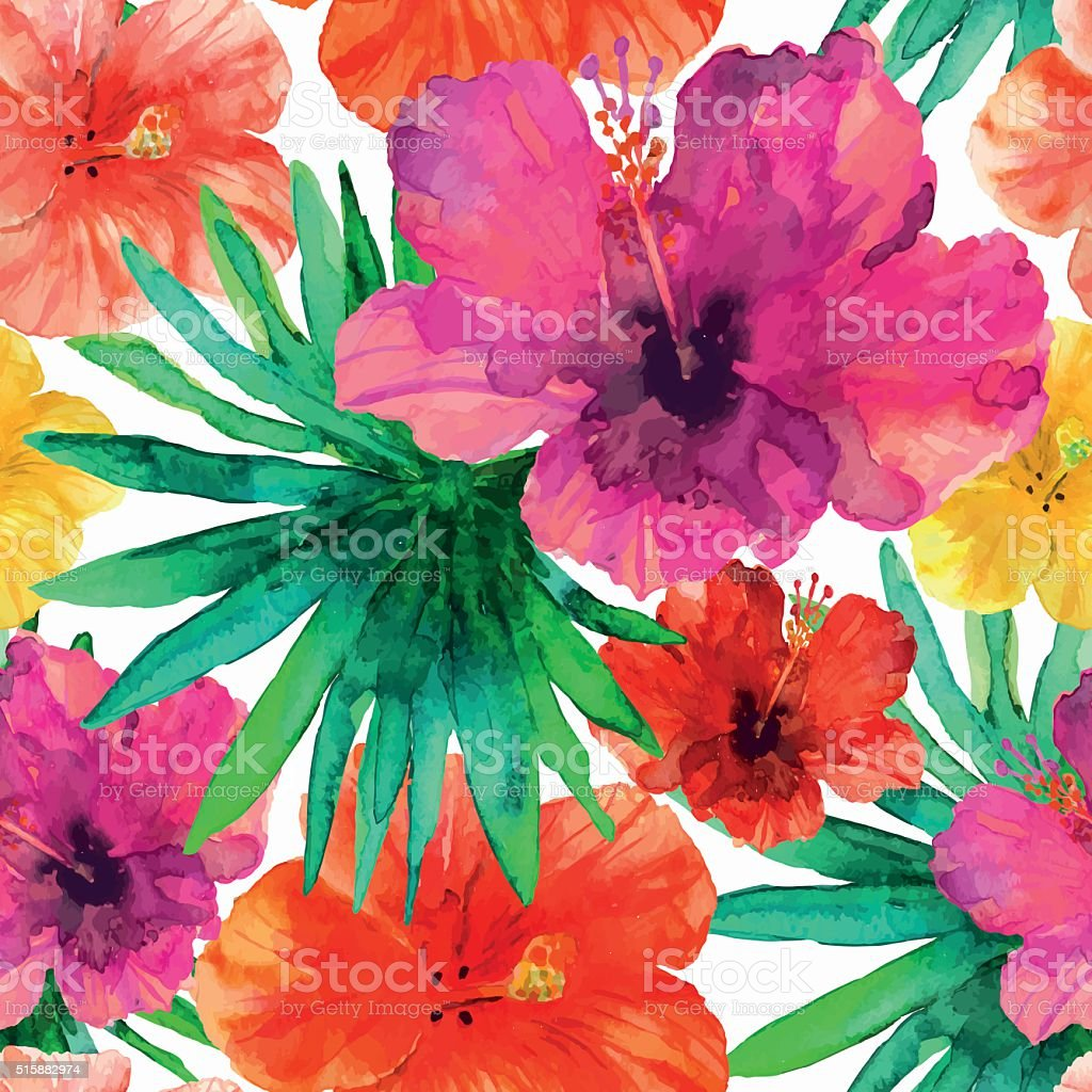 Abstract seamless watercolor hand painted background. Tropical red,...