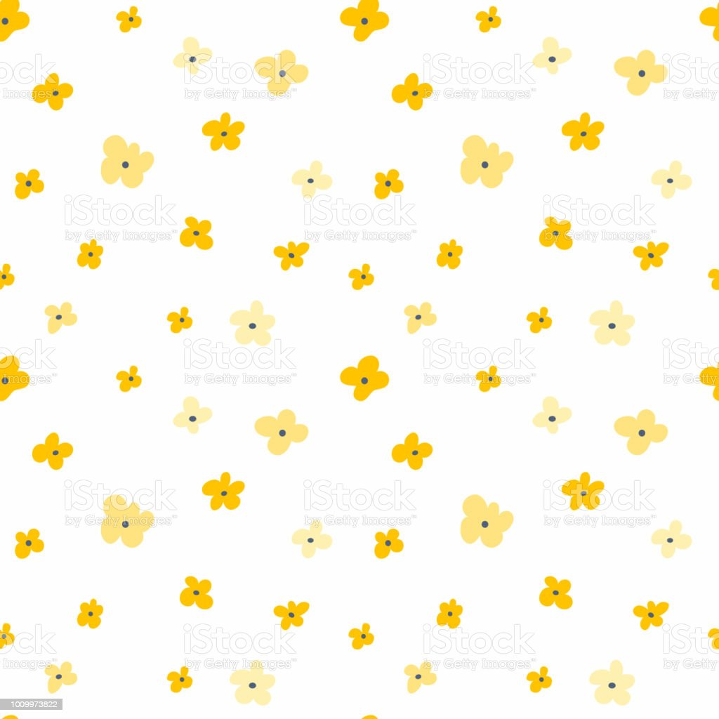 Floral Seamless Pattern With Yellow Flowers Repeated Light