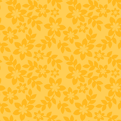 Floral seamless pattern yellow background