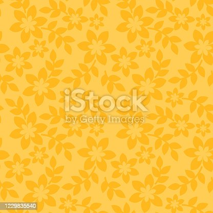 istock Floral seamless pattern yellow background 1229835540