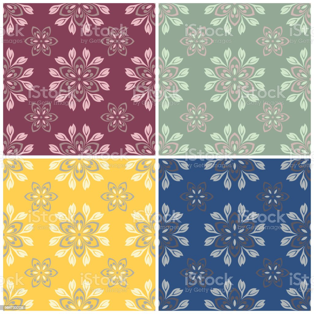 Floral seamless patterns. Set of colored backgrounds with flower elements royalty-free floral seamless patterns set of colored backgrounds with flower elements stock vector art & more images of abstract